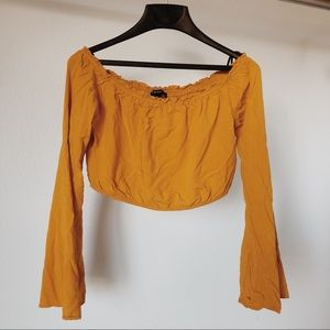Forever 21 Mustard Yellow Long Sleeve Crop Top